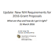 screencapture of a powerpoint presentation on 2016 NIH grant requirements
